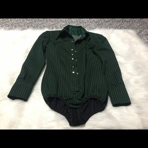 Vintage Green Pin Striped Bodysuit